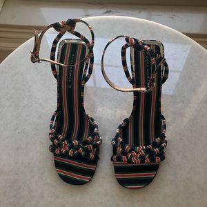 Zara striped sandals heels